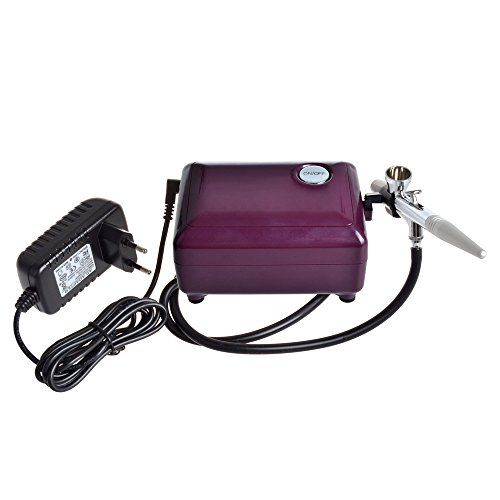 StarsTech+Airbrush+Makeup+Machine+Airbrush+Compressor+with+0.4mm+Airbrush+Spray+Gun,+Purple