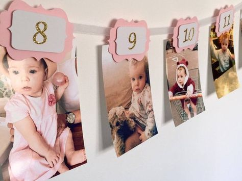 12 MONTHS PHOTO BANNER. Pink and gold. 12 months Banner. Cake Smash. Party Decorations. Birthday girl. 1st Birthday Party. Wall decoration