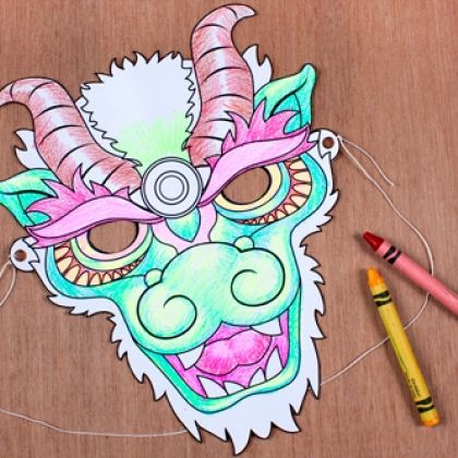 Chinese New Year Dragon Mask Coloring Page