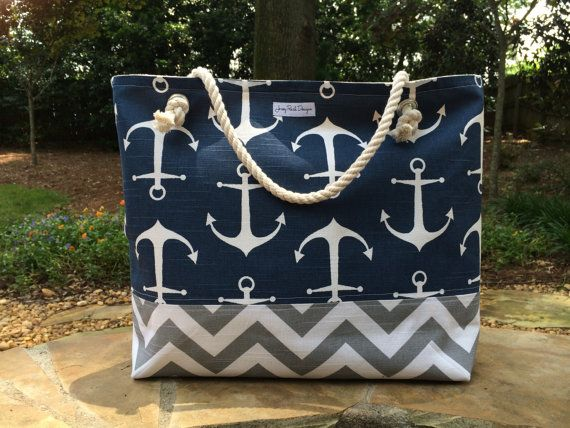 Anchor Beach Bag, Large Tote, Chevron Tote, Monogram Beach Bag                                                                                                                                                      More