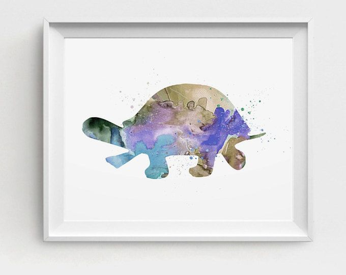 Turtle Art Print, Printable Turtle, Watercolor Turtle, Blue Purple, DIY Wall Art, Large Printable, Turtle Picture, Baby Room Art Decor