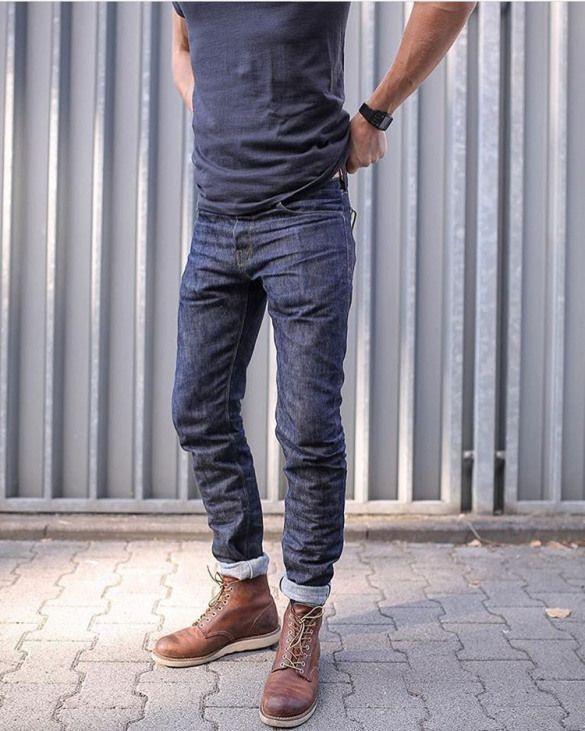 Carefully crafted, inspired by jeans and… - Lässige Herrenmode Bottes Red Wing, Red Wing Boots, Mens Boots Fashion, Denim Fashion, Winter Fashion Boots, Stylish Men, Men Casual, Men's Denim, Denim Style