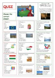English worksheet: Hungary - Quiz, esl, quiz, Hungary, games, for teens, culture, nature, facts, geography, people