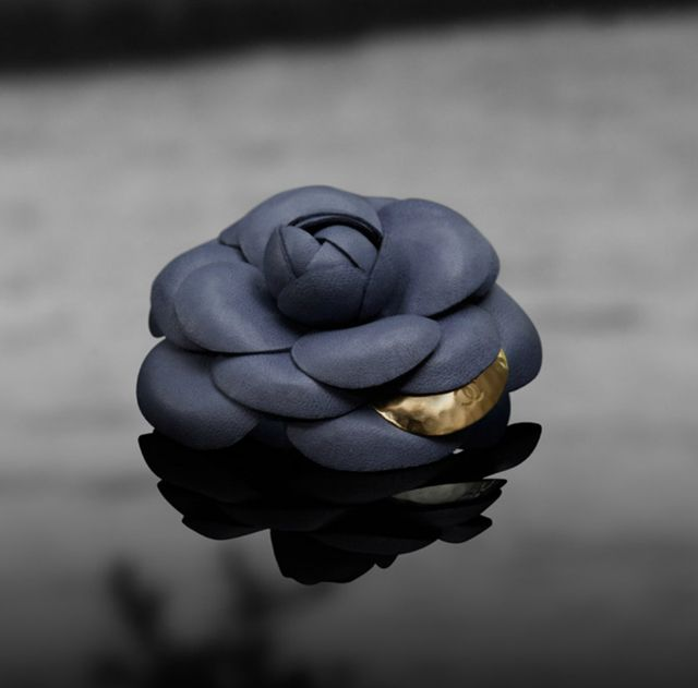 Chanel Brooche Lambskin :-( Camellia Brooch with Signature Gold Petal