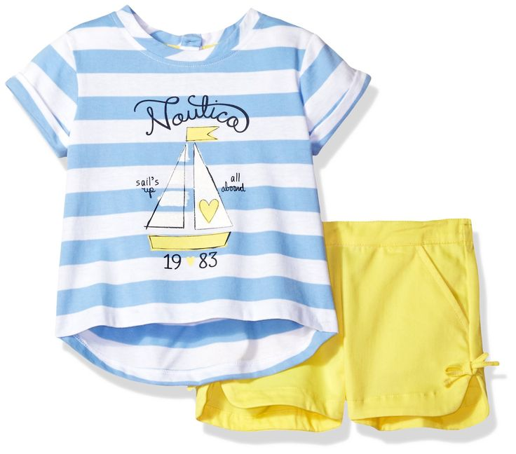 Nautica Toddler Girls' Knit Top with Chambray Short Set, Light Blue, 4T. Short sleeve striped top with sail boat graphic. Short with elastic waistband. Bow detail on shorts. Two piece set.