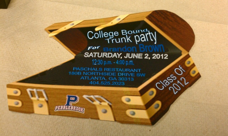 college bound trunk party invitation u0026 39   prissypeoples