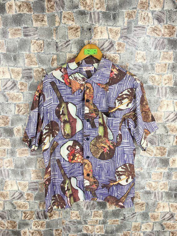 bd61adb30 Vintage Ukulele Hawaiian Shirt Medium 80s Hawaii Hula Girl Sun Surf Toyo  Japan Sukajan Hawaii Surf