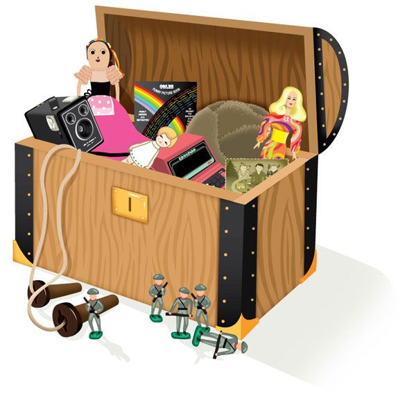 An illustration of a chest full of old toys