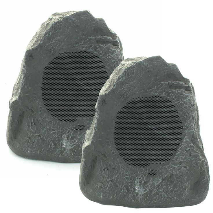 Fill your outdoor deck, garden or patio with high quality sound. This Brand New Pair of Theater Solutions lava style 2-way weatherproof rock speakers are manufactured from high tech plastics, rubber a