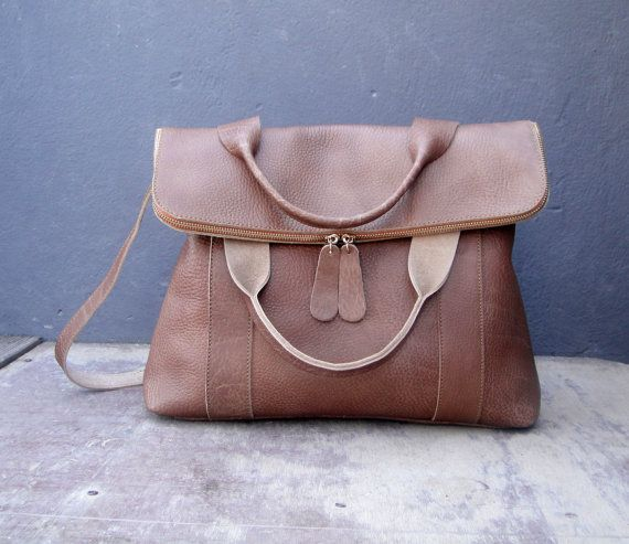 Leather satchel in beige by byCACHE on Etsy
