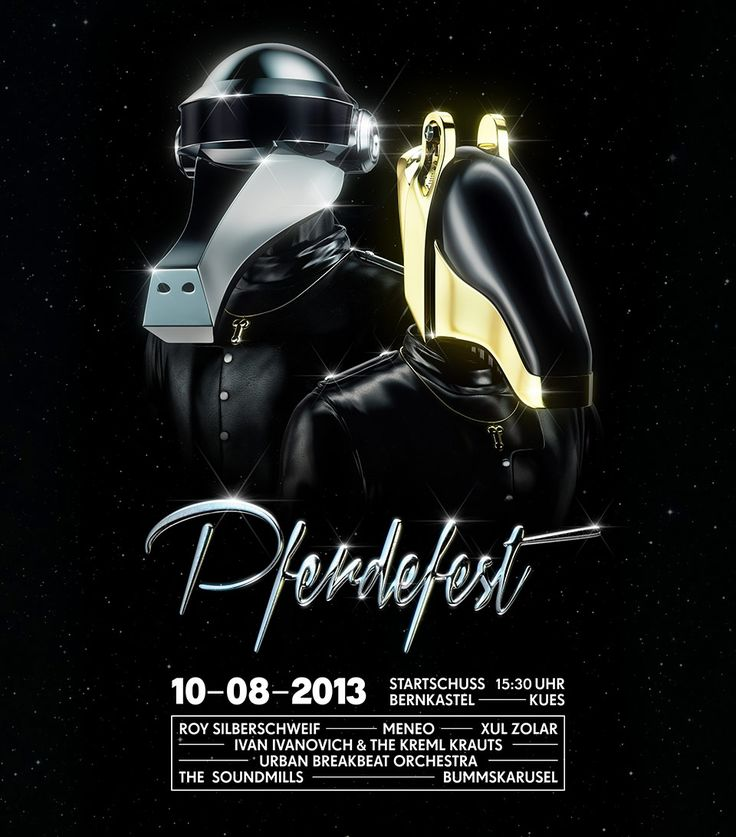 PFERDEFEST 2013 – Main visual for the Pferdefest 2013 Festival – aka the Horse Event. The german Pferdefest ('horse festival') is a huge party at the Moselcoast which transforms the idyllic wine village Bernkastel Kues into an insane party. CGI, 3D, Daft Punk, Hors, Horses, Foreal, 3D-Type, 3D Type, 3D-typo