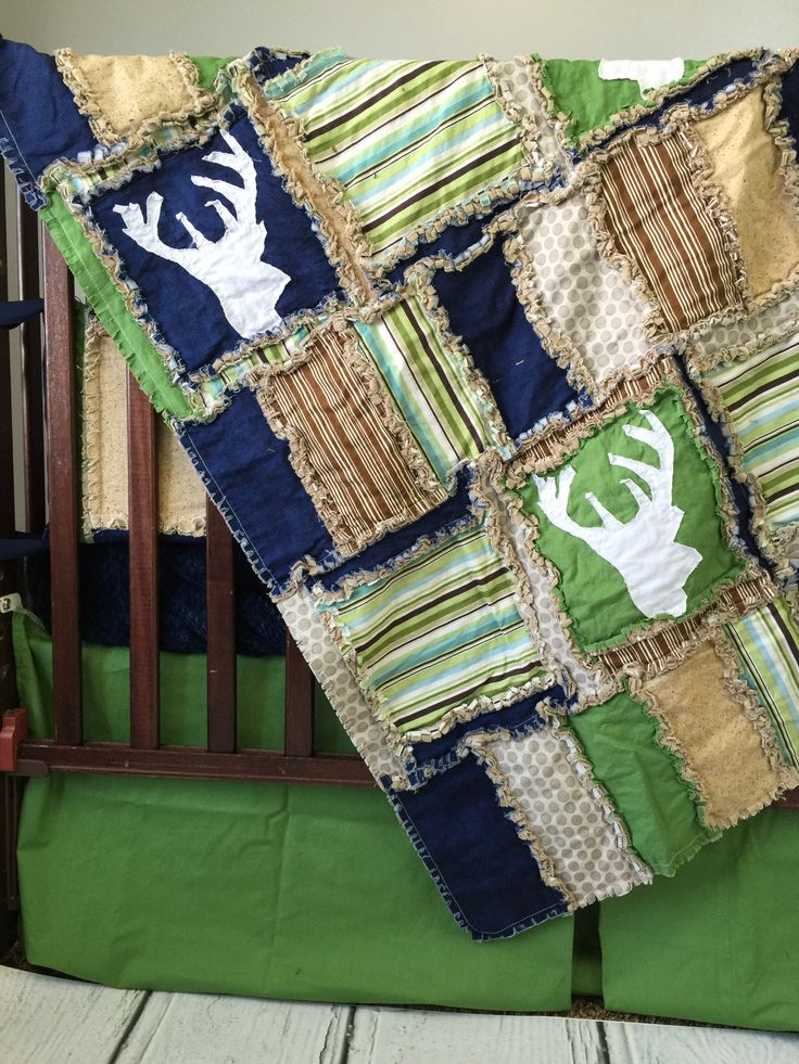 """Grey, green, navy blue, and tan and applique Stag (deer) silhouettes for Baby boy Bedding Pieces available include: Sizes and Variations: mini crib quilt 27""""x40 crib/ quilt 40x47 Toddler quilt 52x63 T"""