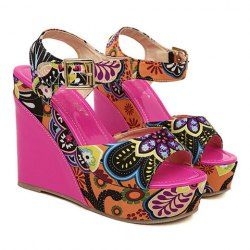 Wholesale Pastoral Style Women's Sandals With Floral Print and Wedge Heel Design (ROSE,37), Sandals - Rosewholesale.com