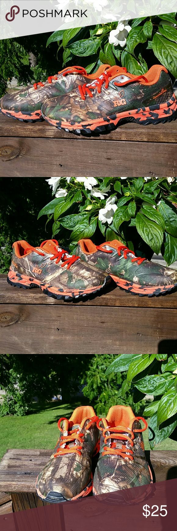 Realtree Girl Tennis Shoes Realtree Girl shoes! These shoes look SHARP. Camouflage detail with bright orange strings, inside, and along the bottom. Very comfortable. Only wore once to go hiking. Great non-slip tread. Realtree Shoes