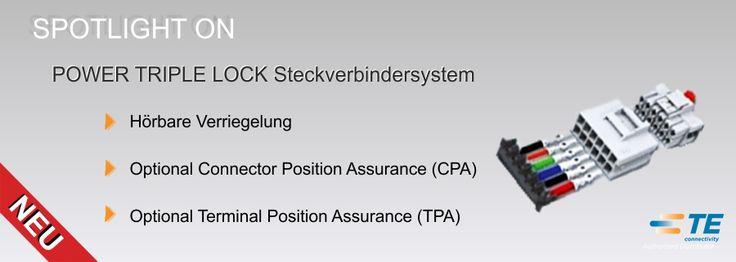 SHC GmbH - POWER TRIPLE LOCK (PTL) #Steckverbindersystem // Die POWER TRIPLE LOCK (#PTL) Produktlinie bietet  Kunden vielfältige Vorteile. Die neuen Features umfassen eine Option zur Connector Position Assurance (#CPA) und zur Terminal Position Assurance (#TPA),  Hochtemperatur-Gehäuse bis zu 150 ° C (302 ° F) und ein verbessertes federloses Kontaktdesign. #Technik #TEConnectivity #Steckverbinder #SHC
