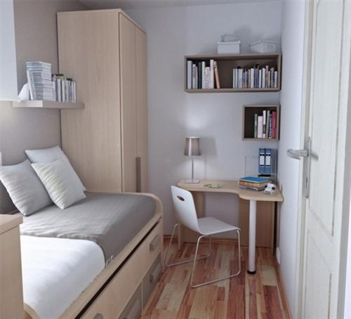 Great site for tiny pod bedrooms!     Teenage  small Bedroom Design with Office Desk Corner
