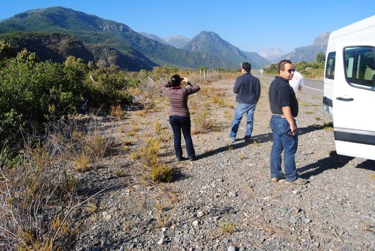 Profesionales viendo hacia el volcán Descabezado