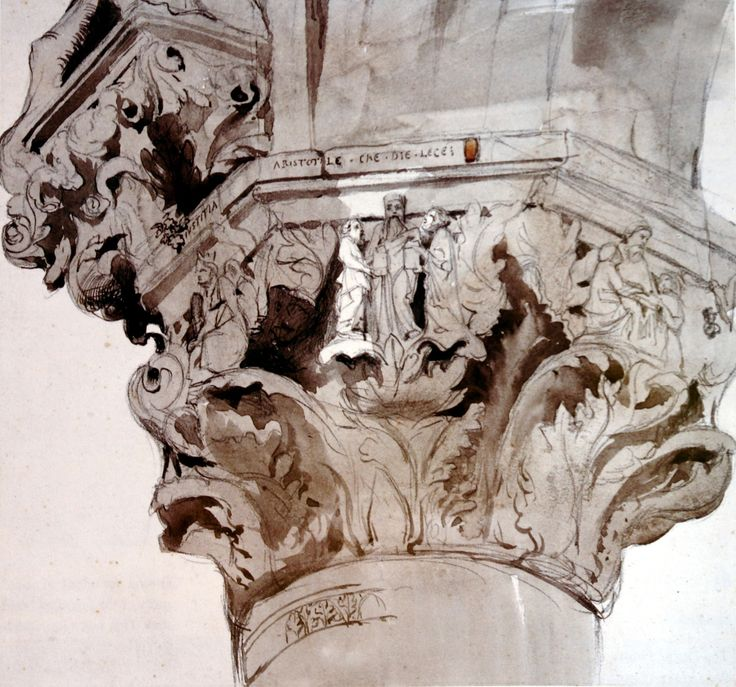 drawingdetail: John Ruskin, Capital 36 of the Ducal Palace, Venice, 1849-1852. Pencil and wash, 22.3 x 23.5 cm.