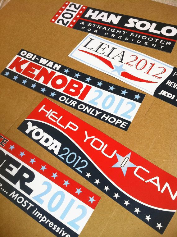 Set of 4 star wars election bumper stickers 15 off retail by purchasing bundle third party politics