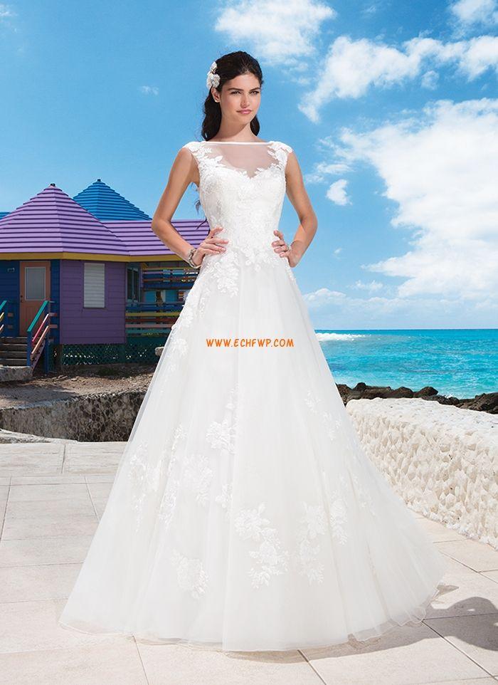 Traîne moyenne Robes Blanches Simples Sans manches Robes de mariée pas cher