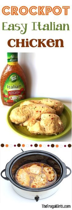 Crockpot Italian Chicken Recipe at TheFrugalGirls.com   Print Easy Crockpot Italian Chicken Recipe! Author: The Frugal Girls Prep time:  5 mins Cook time:  3 hours 30 mins Total time:  3 hours 35 mins Serves: 4   Ingredients 4 Boneless Skinless Chicken Breasts, thawed 1 bottle Wish-Bone Italian Dressing, 16 oz. Instructions Place chicken in Crockpot and pour Italian Dressing over it. Cook on HIGH for 3.5 hours {covered}, or until done. That's it! Seriously… it doesn't get any easier, and…