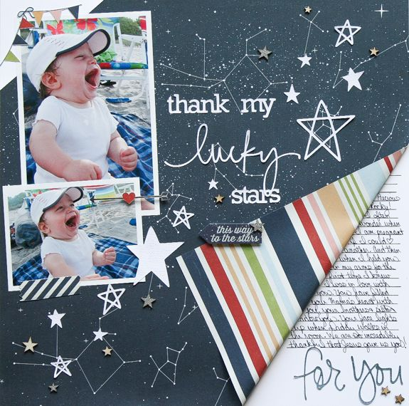 Thank my Lucky Stars **Simple Stories DT** - Scrapbook.com - Fold back a corner of paper to reveal the other side and leave room for journaling.