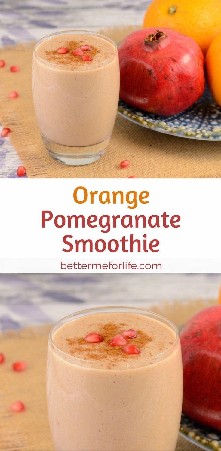 Treat yourself to the tart and tangy citrus flavors in this orange pomegranate smoothie. This smoothie is packed with antioxidants, fiber, and protein. Find the recipe on BetterMeforLife.com | orange smoothie | smoothie recipes | smoothies | healthy smoothies | delicious smoothies | smoothies for weight loss | smoothie | smoothie recipes | smoothie recipes weight loss | smoothie recipes diet #smoothies #smoothierecipes #smoothie