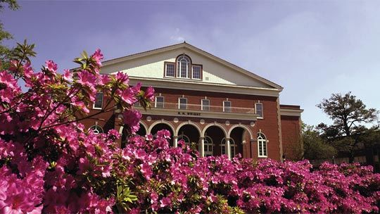 Pink flowers surrounding the Wright Building on ECU (East Carolina University) campus in Greenville, North Carolina