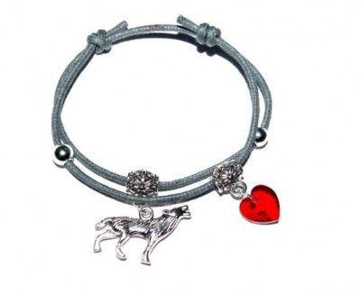 Bransoletka Charms Zmierzch: Wilk i Swarovski #Wilk #Swarovski #bransoletka #bracelet #heart #serce #wolf #zmierzch #Twilight