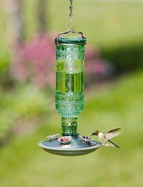 Pressed Glass Hummingbird Feeder
