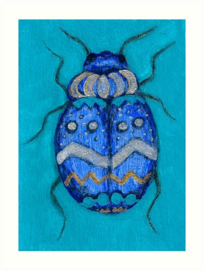 Beetle Bug Art - Insect Charcoal Acrylic Painting Art Prints by Katri Ketola