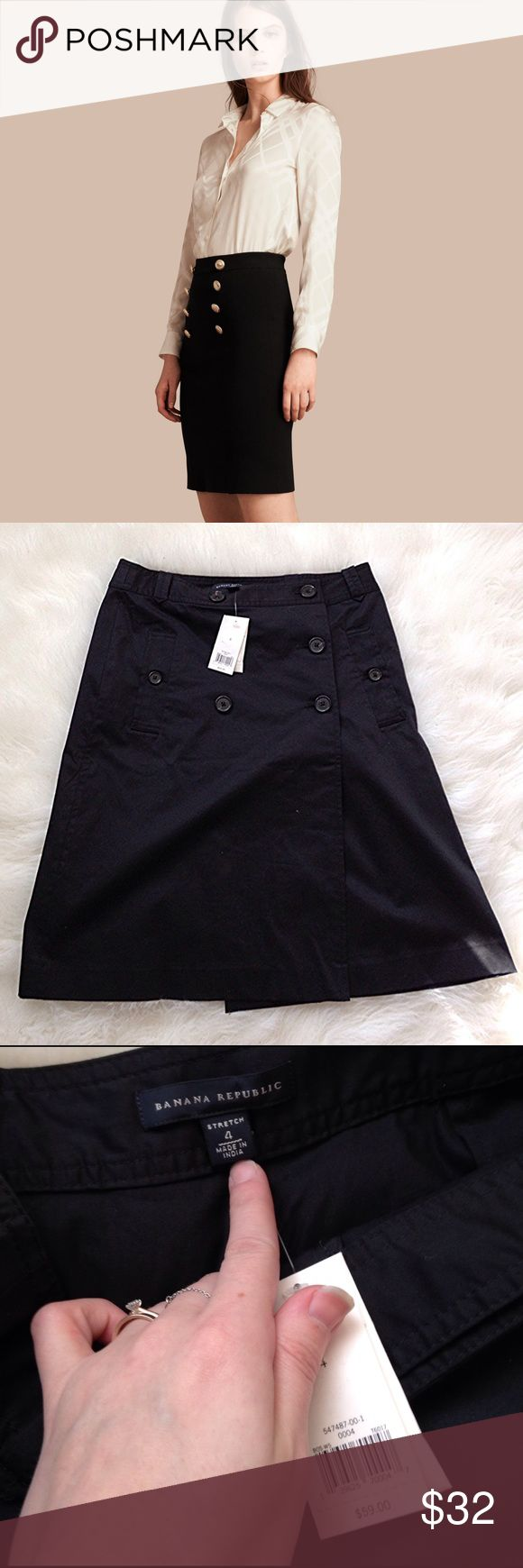 NWT banana republic military style skirt Stock photo is NOT what I'm selling but more to give you an outfit visual, this is a brand new with tags attached banana republic military style black skirt, size 4 belt loops around waist to add more to the flair Banana Republic Skirts Midi
