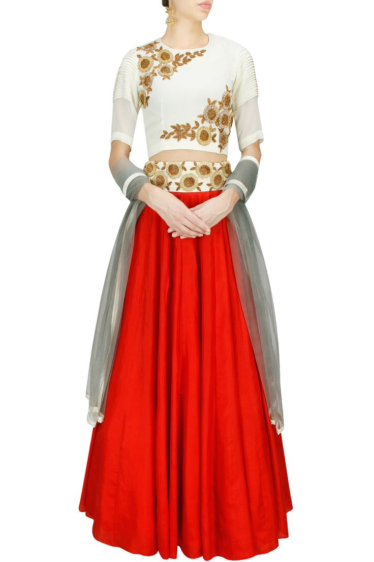 Red and off white embroidered lehenga set BY BHUMIKA SHARMA.  Shop now at: www.perniaspopups... #perniaspopupshop #designer #stunning #fashion #style #beautiful #happyshopping #love #updates