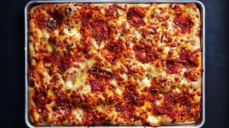 Classic Mozzarella Grandma Pie Recipe | Bon Appetit - https://www.bonappetit.com/recipe/classic-mozzarella-grandma-pie?mbid=nl_nl20170922fig_trendingrecipes&CNDID=238598