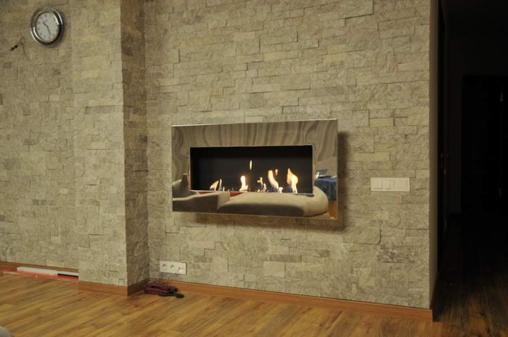 New York wall mounted fireplace by Decoflame, with the polished stainless steel frame, bio-fireplace, биокамин