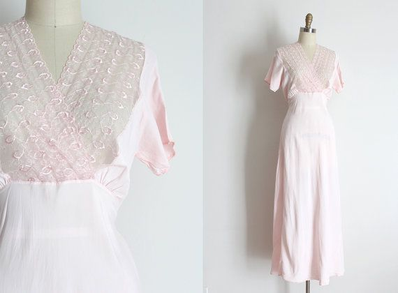 vintage 1930s slip // 30s pink lingerie gown by TrunkofDresses