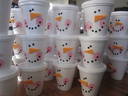 snowman cups...put cute treats in them. perfect for classroom parties (ex. popcorn, trail mix...)