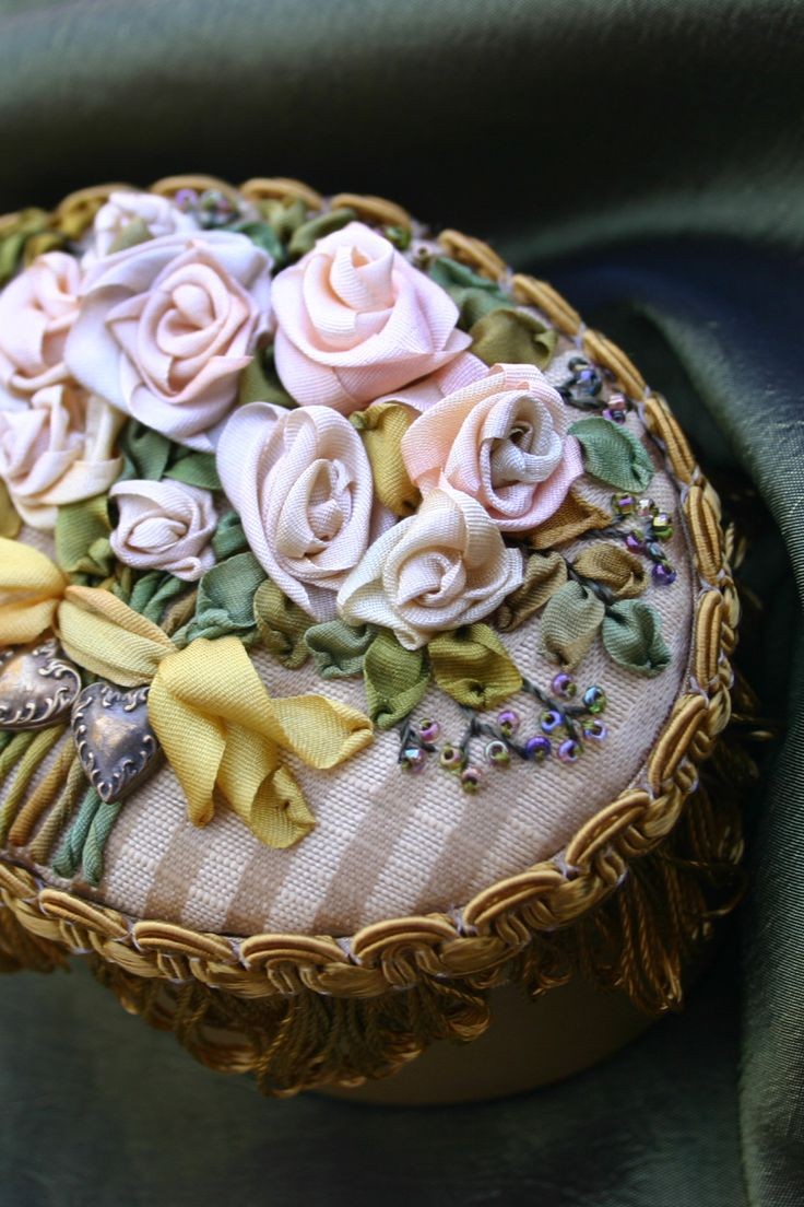 Ribbon embroidery bedspread designs - Silk Ribbon Embroidery On Satin Box By Anne Davies
