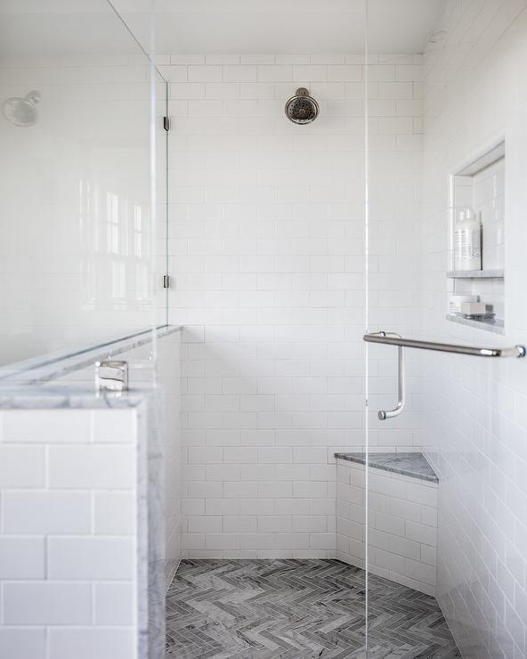 Gray Marble Herringbone Floor Tiles Combined With White Subway Tiles Balance Dark And Light Into A Walk In Sh White Subway Tiles Herringbone Floor Shower Floor