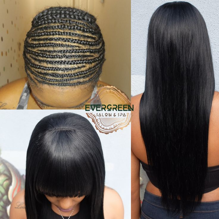 Long length straight bangs full weave braids hair