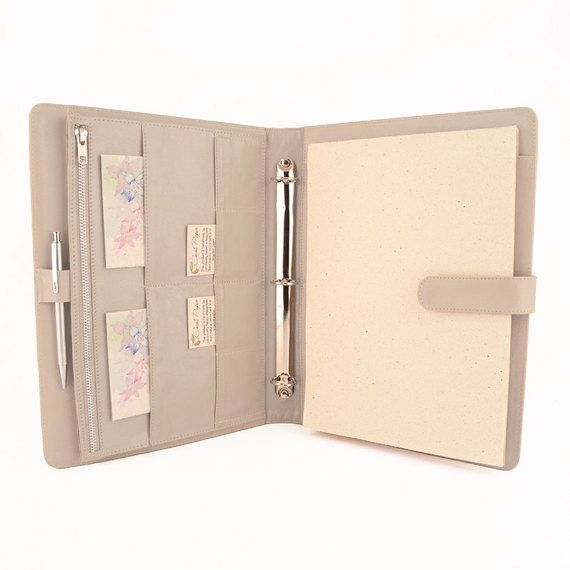 ORIGINAL- A4 Leather Ring Binder Planner / Organizer- 3 or 4 Ring. Lots of pockets. Personalized & available in different colors.