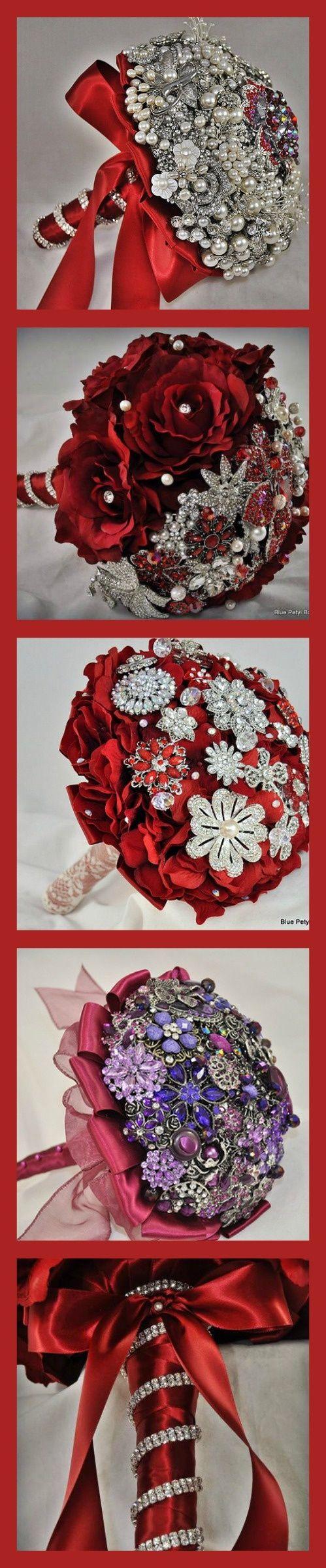Red brooch bouquets by Blue Petyl