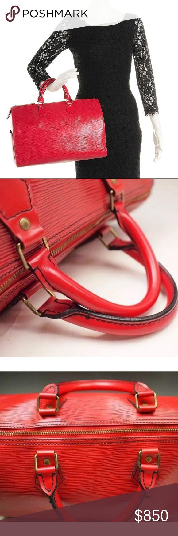 Authentic Louis Vuitton leather Speedy 35 Authentic Louis Vuitton Speedy 35, red Louis Vuitton Bags Satchels