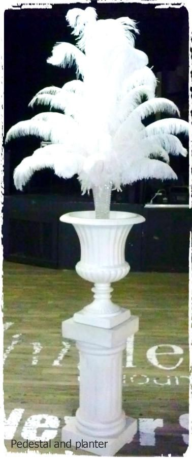 Ostrich feather centerpiece in our pedestal and planters