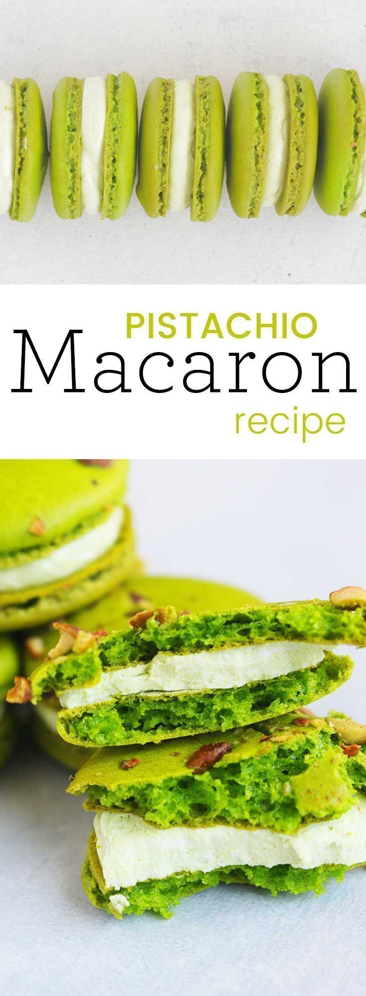 Pistachio macarons with Pistachio buttercream are easily my most favorite macaron flavor. They are classic, rich, and rather pretty to look at. Use the Swiss Meringue Buttercream included or a pistachio nut butter to fill. #macarons #dessert