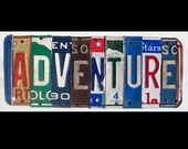 Recycled vintage license plate art