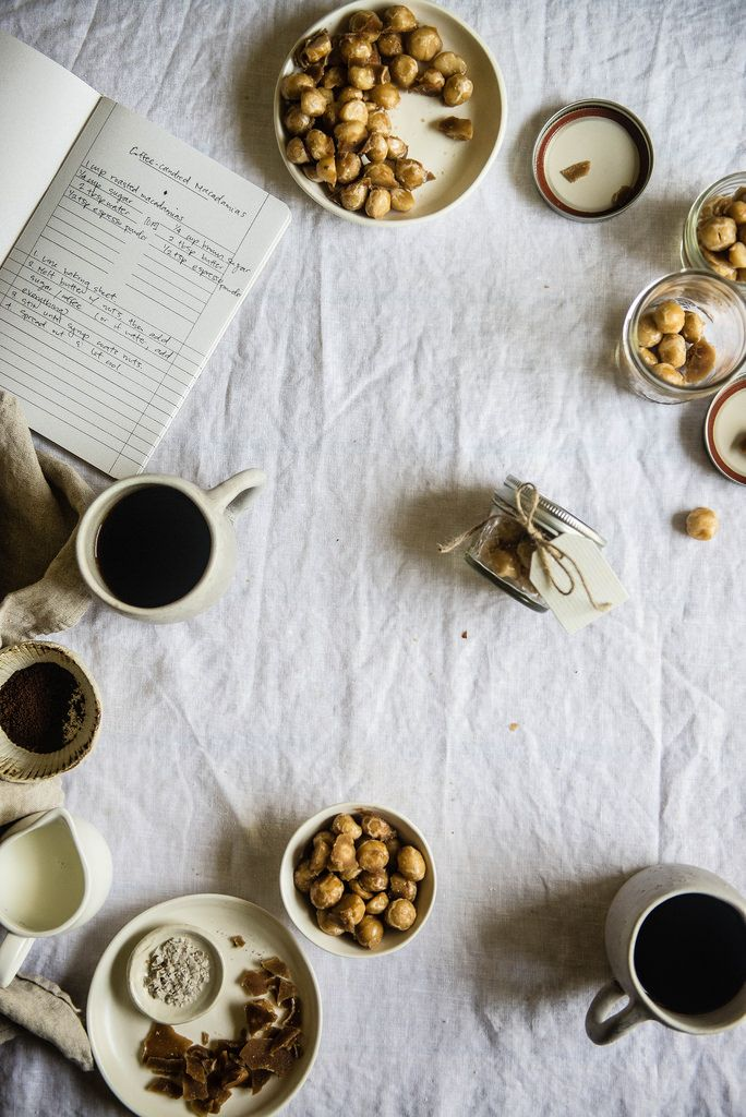 coffee-candied macadamia nuts / two red bowls