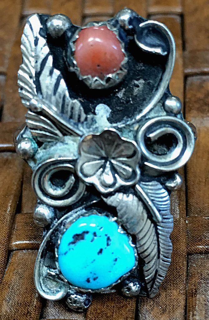 Turquoise & Coral Ring Southwestern Sterling Silver - Yourgreatfinds, Vintage Jewelry - 1