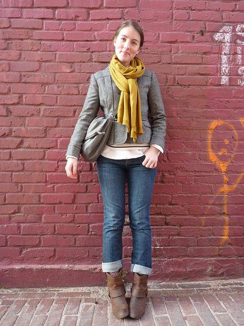gap jeans; ll bean sweater; ralph lauren outlet button-up; h&m scarf; target boots; jcrew coat; breda watch