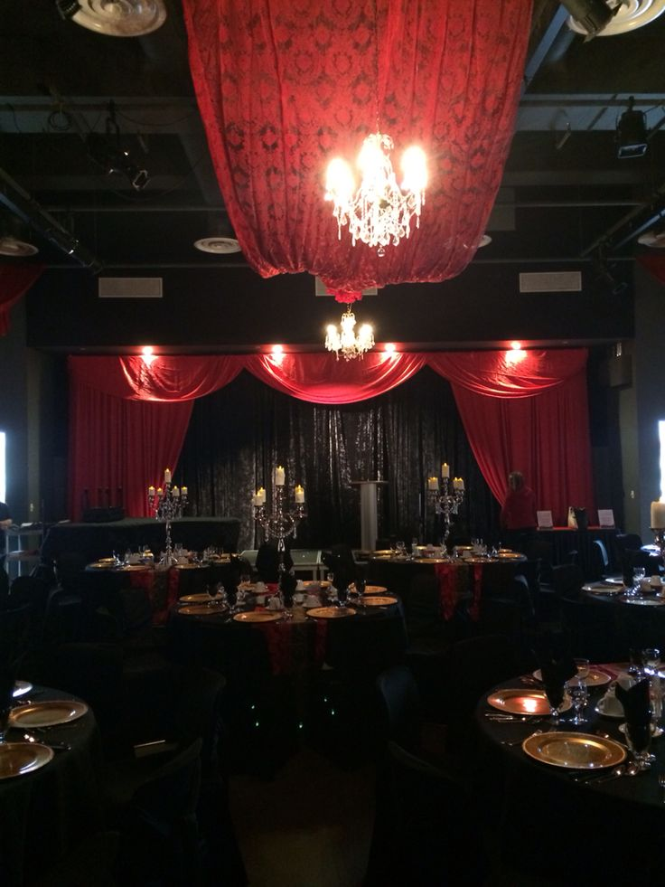 Phantom of the Opera Themed Ball #phantomoftheopera #dinner #reception #ball #red #stagecurtain #stage #lachefs #catering #decor #french